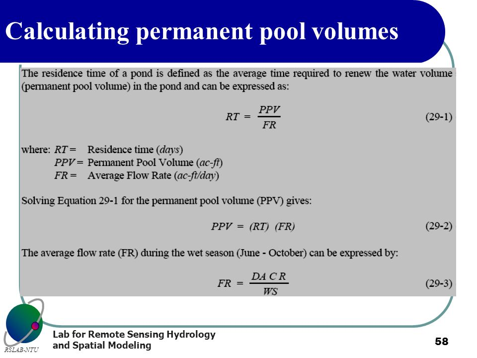 Calculating permanent pool volumes