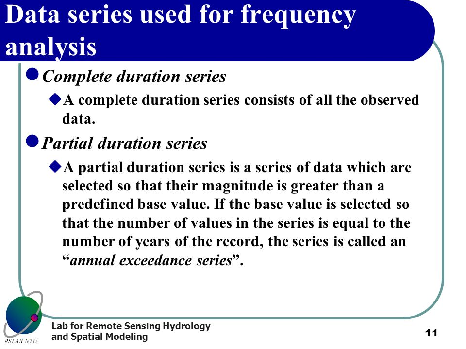 Data series used for frequency analysis