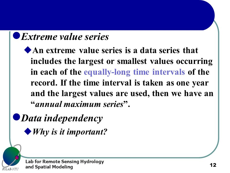 Extreme value series Data independency