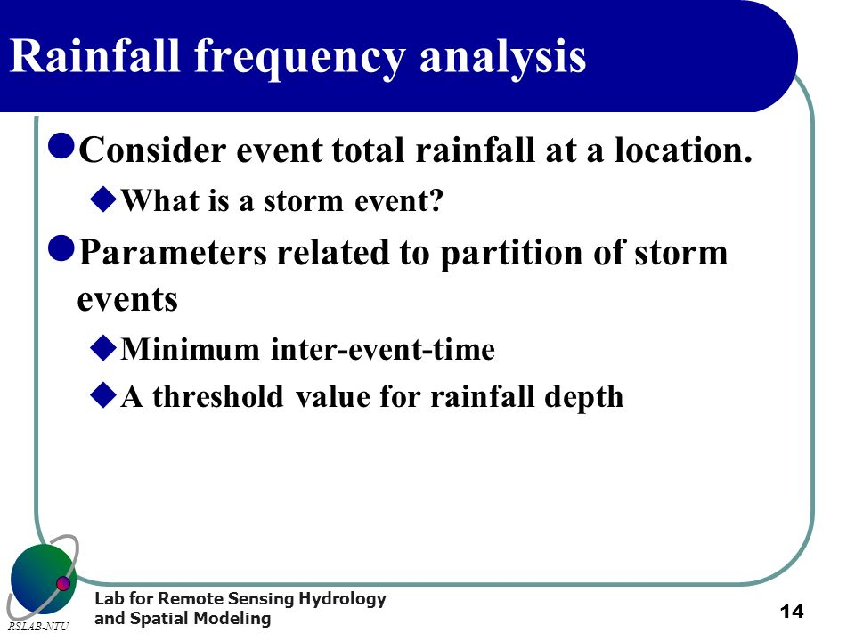 Rainfall frequency analysis
