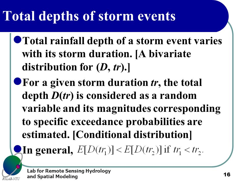 Total depths of storm events