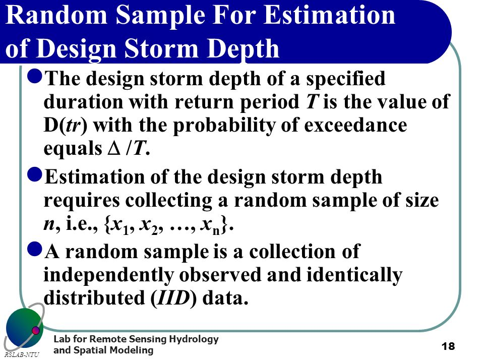 Random Sample For Estimation of Design Storm Depth