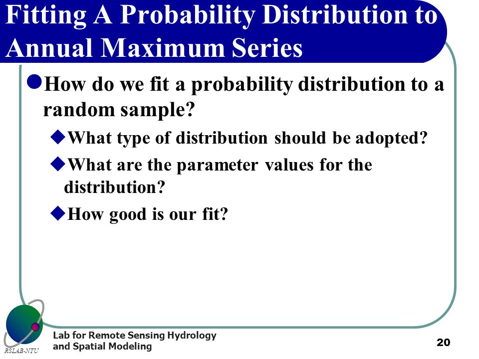Fitting A Probability Distribution to Annual Maximum Series