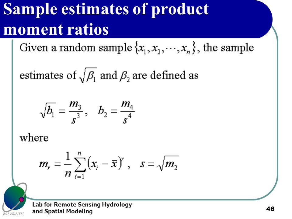 Sample estimates of product moment ratios