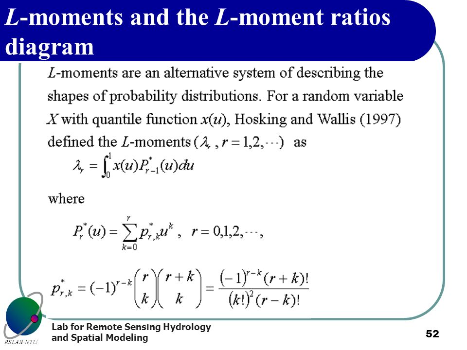 L-moments and the L-moment ratios diagram