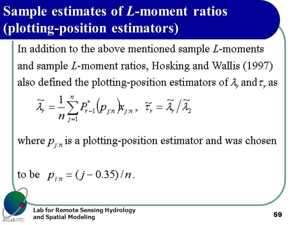Sample estimates of L-moment ratios (plotting-position estimators)