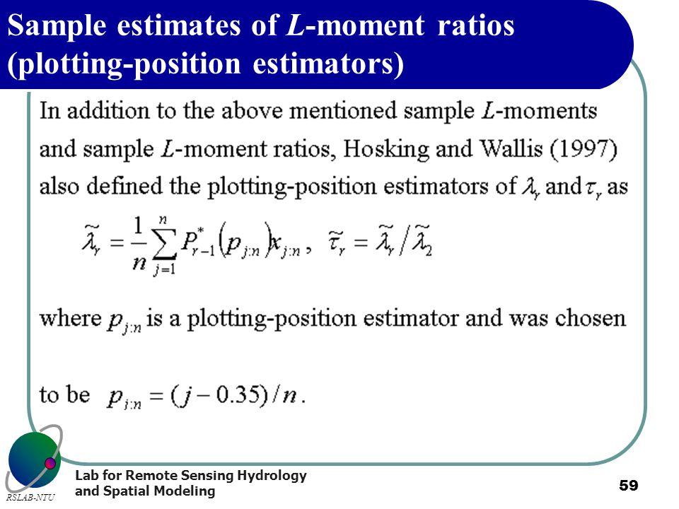 Sample estimates of L-moment ratios (plotting-position estimators)