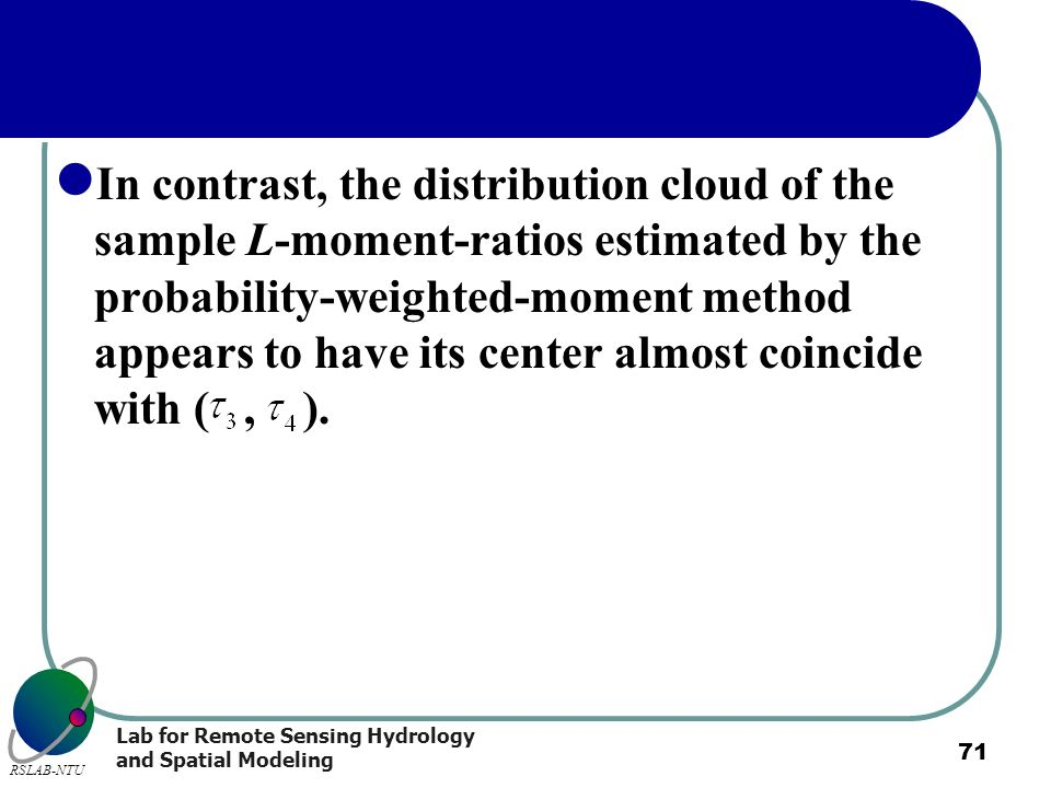 In contrast, the distribution cloud of the sample L-moment-ratios estimated by the probability-weighted-moment method appears to have its center almost coincide with ( , ).
