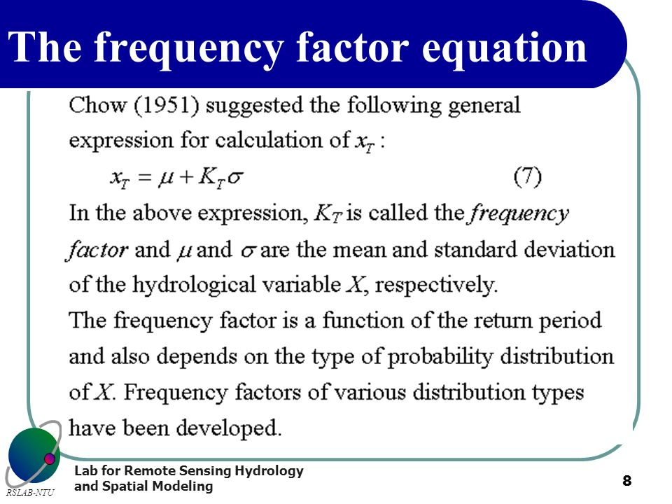 The frequency factor equation
