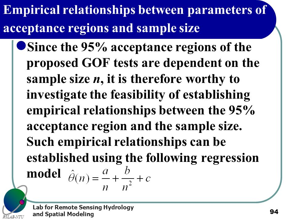 Empirical relationships between parameters of acceptance regions and sample size