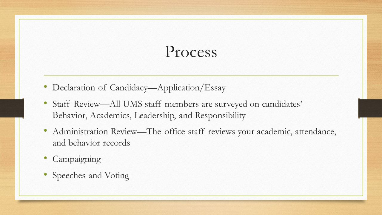 student council elections ppt  process declaration of candidacy application essay