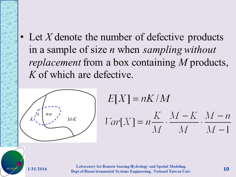 Let X denote the number of defective products in a sample of size n when sampling without replacement from a box containing M products, K of which are defective.