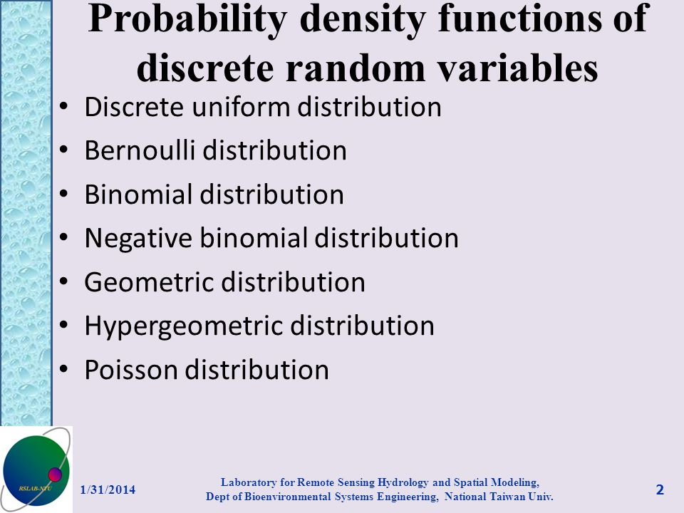 Probability density functions of discrete random variables