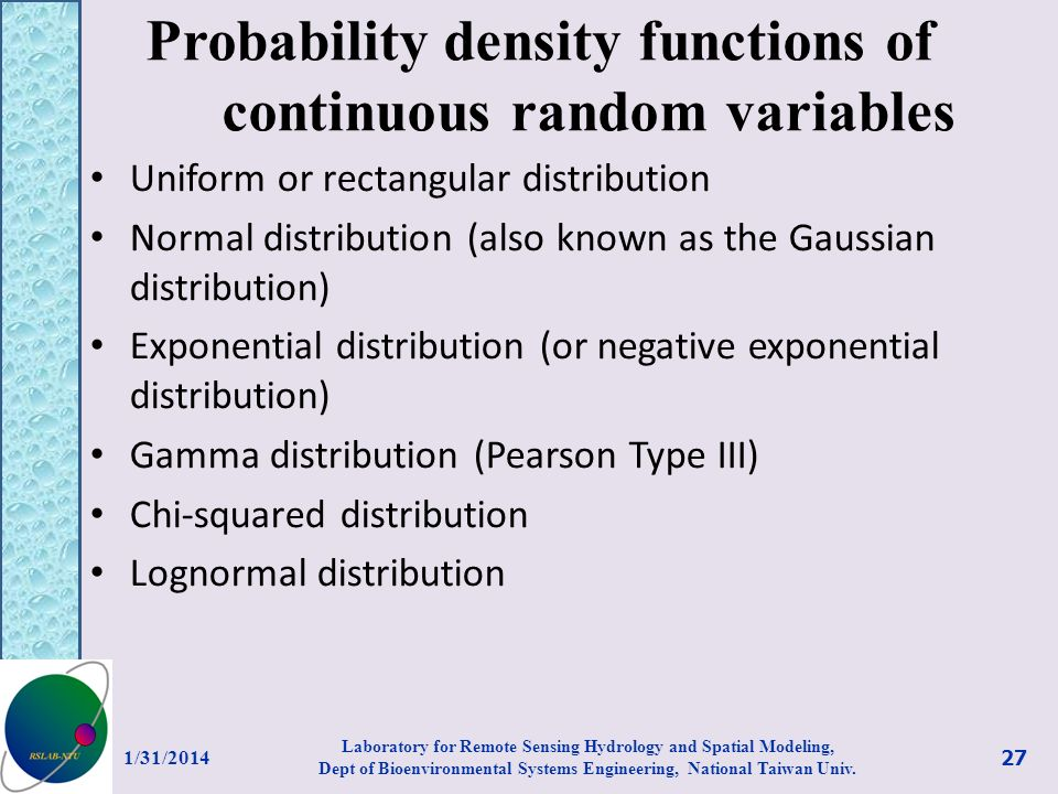 Probability density functions of continuous random variables