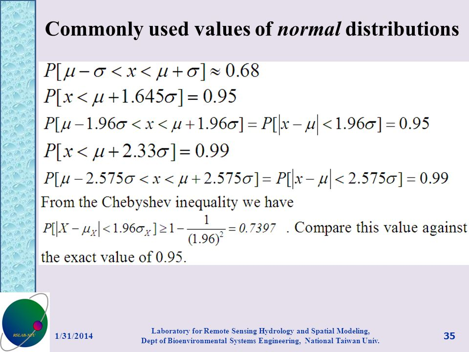 Commonly used values of normal distributions
