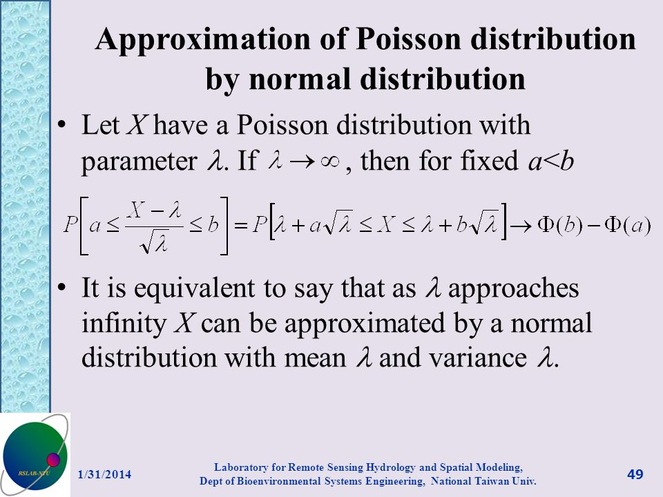 Approximation of Poisson distribution by normal distribution