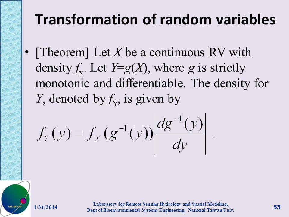Transformation of random variables