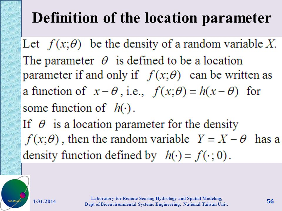 Definition of the location parameter
