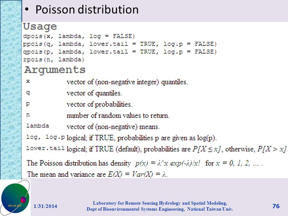 Poisson distribution 3/27/2017