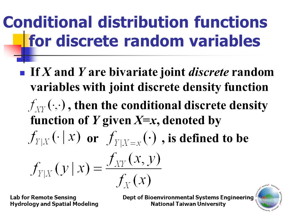 Conditional distribution functions for discrete random variables