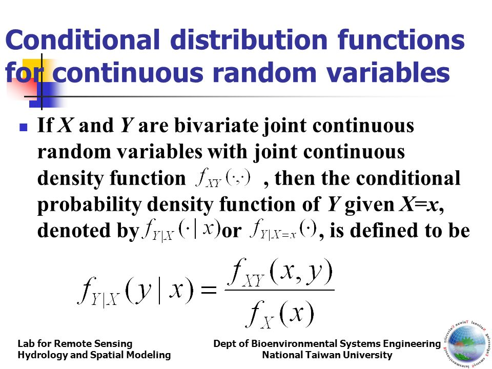 Conditional distribution functions for continuous random variables