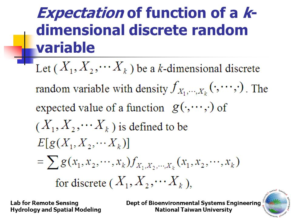 Expectation of function of a k-dimensional discrete random variable