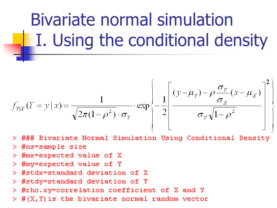 Bivariate normal simulation I. Using the conditional density