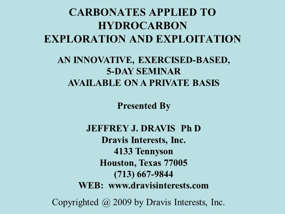 CARBONATES APPLIED TO HYDROCARBON EXPLORATION AND EXPLOITATION