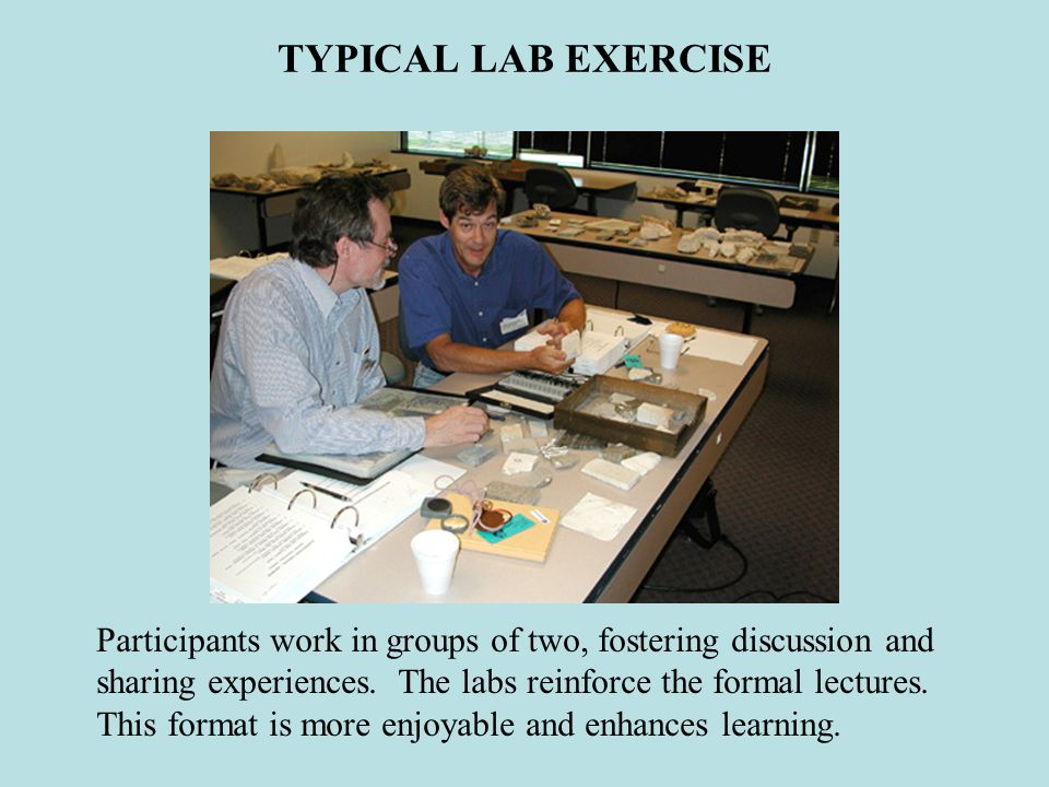 TYPICAL LAB EXERCISE Participants work in groups of two, fostering discussion and.