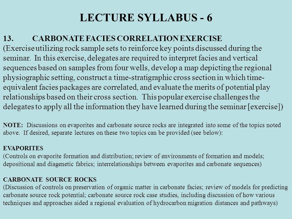LECTURE SYLLABUS - 6 13. CARBONATE FACIES CORRELATION EXERCISE