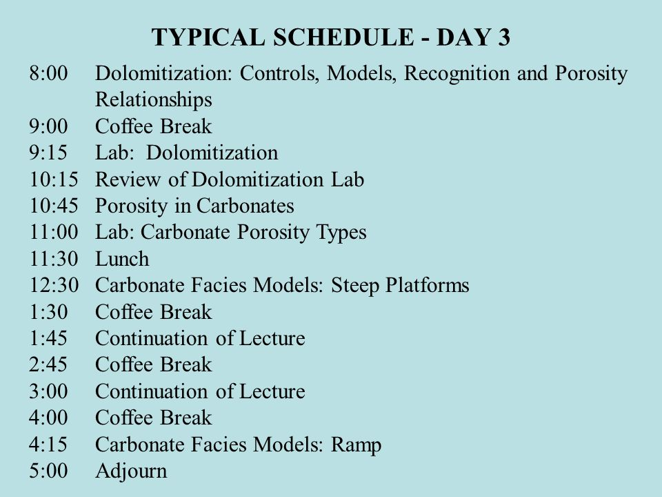 TYPICAL SCHEDULE - DAY 3 8:00 Dolomitization: Controls, Models, Recognition and Porosity Relationships.