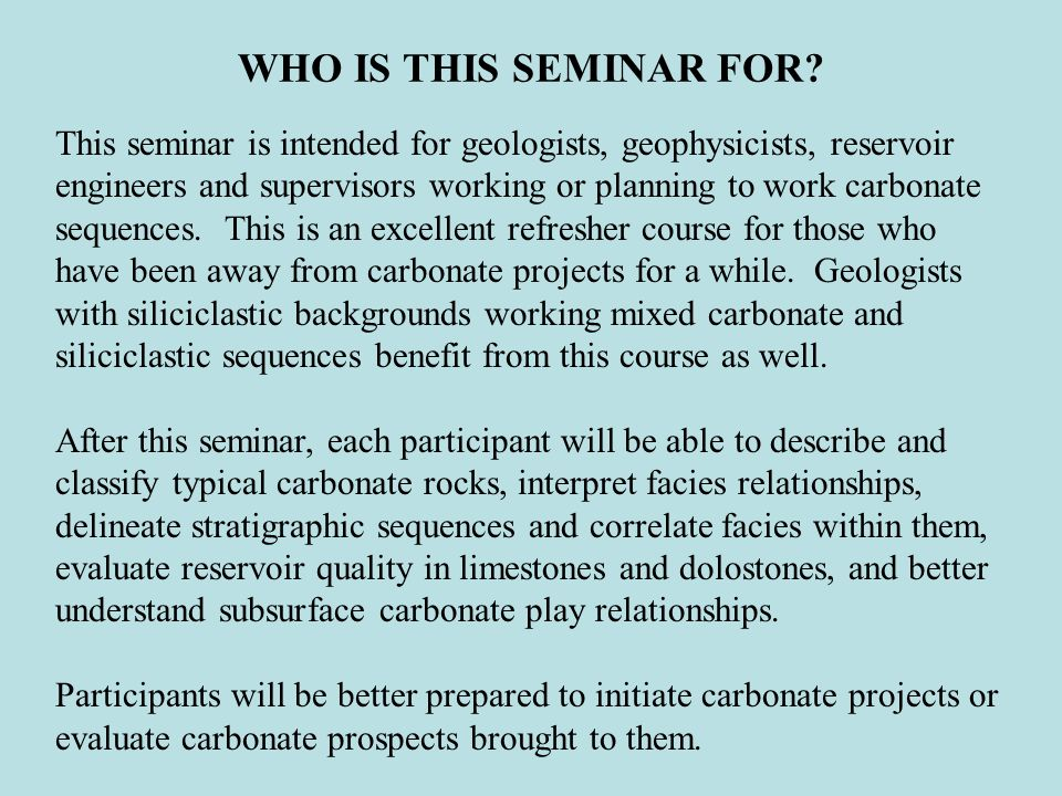WHO IS THIS SEMINAR FOR