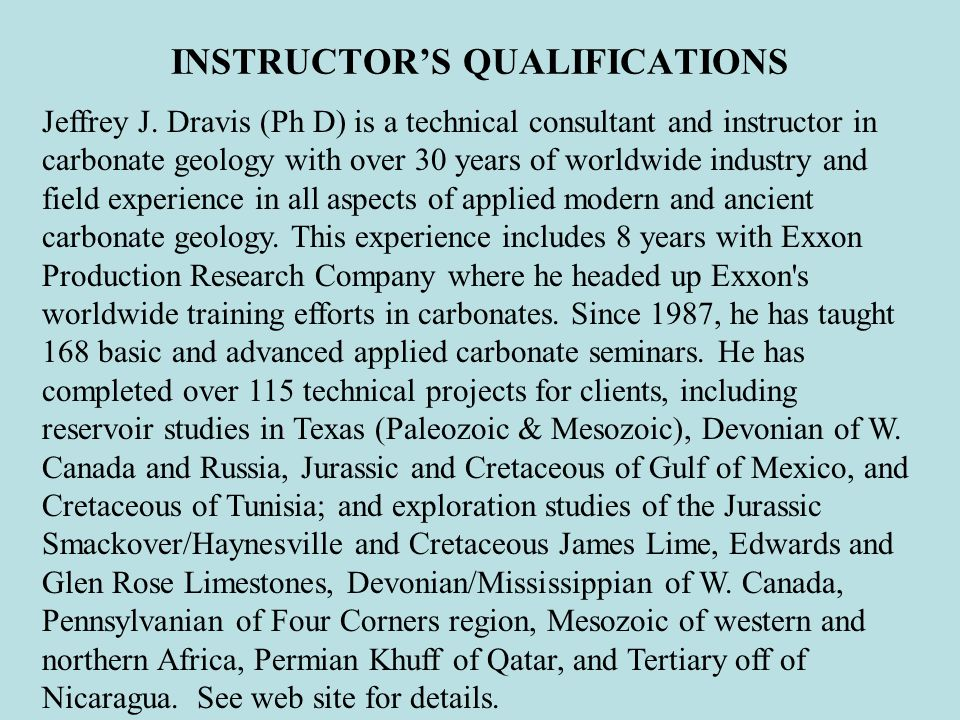 INSTRUCTOR'S QUALIFICATIONS
