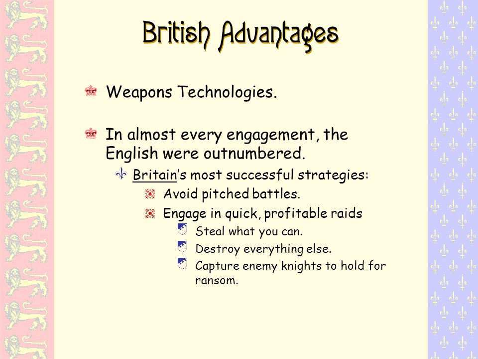British Advantages Weapons Technologies.