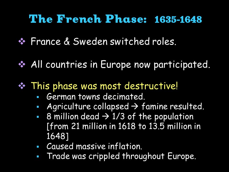 The French Phase: France & Sweden switched roles.