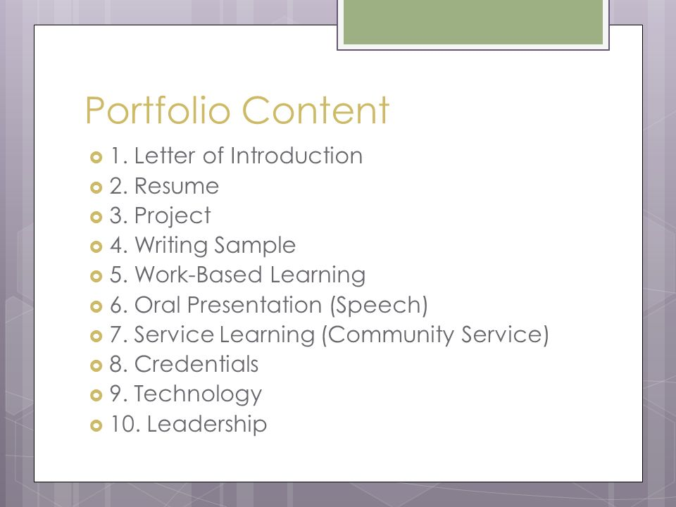 work based portfolio If a portfolio-based assessment is to work correctly, student work other than tests and quizzes (writing, art, videos, photographs, projects) should be collected and assessed by all teachers involved in that students education at the end of the year.