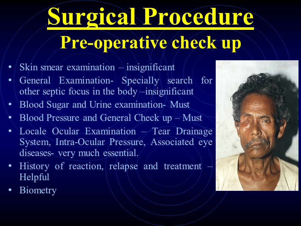 Surgical Procedure Pre-operative check up