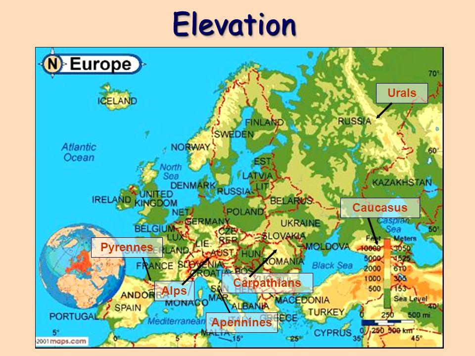 Elevation Urals Caucasus Pyrennes Carpathians Alps Apennines