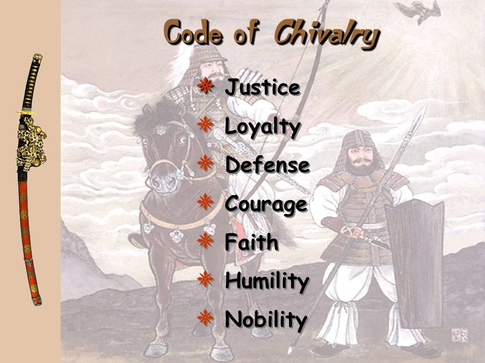 Code of Chivalry Justice Loyalty Defense Courage Faith Humility