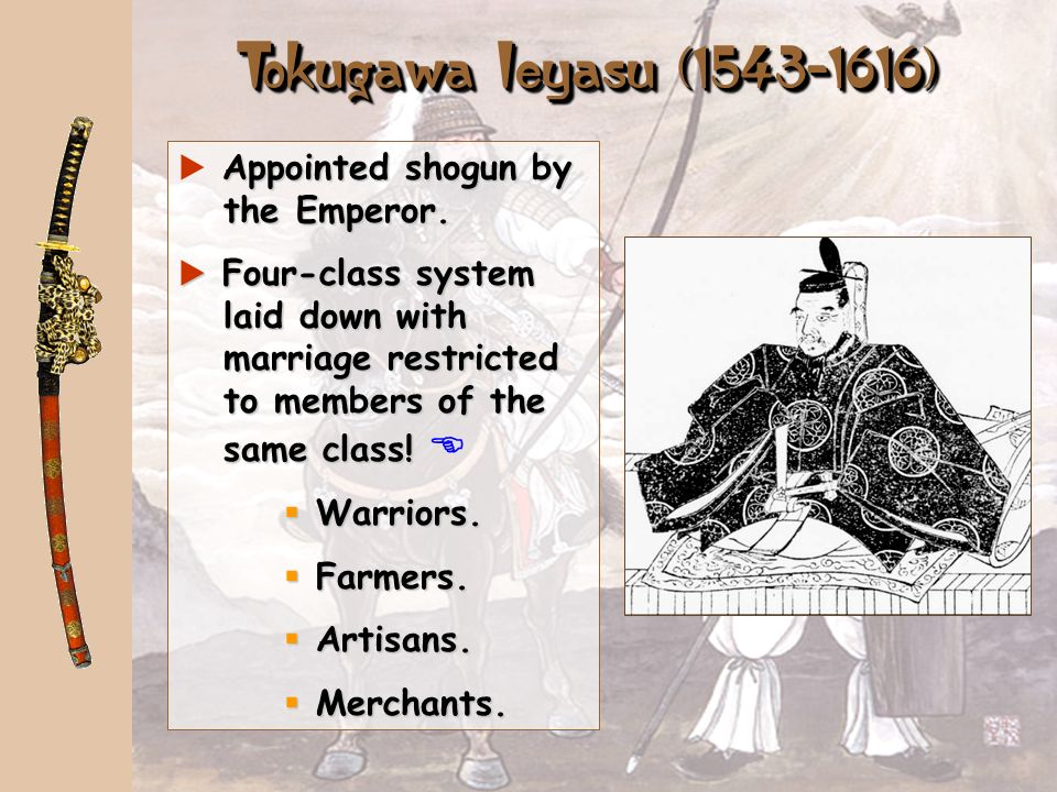 Tokugawa Ieyasu (1543-1616) Appointed shogun by the Emperor.