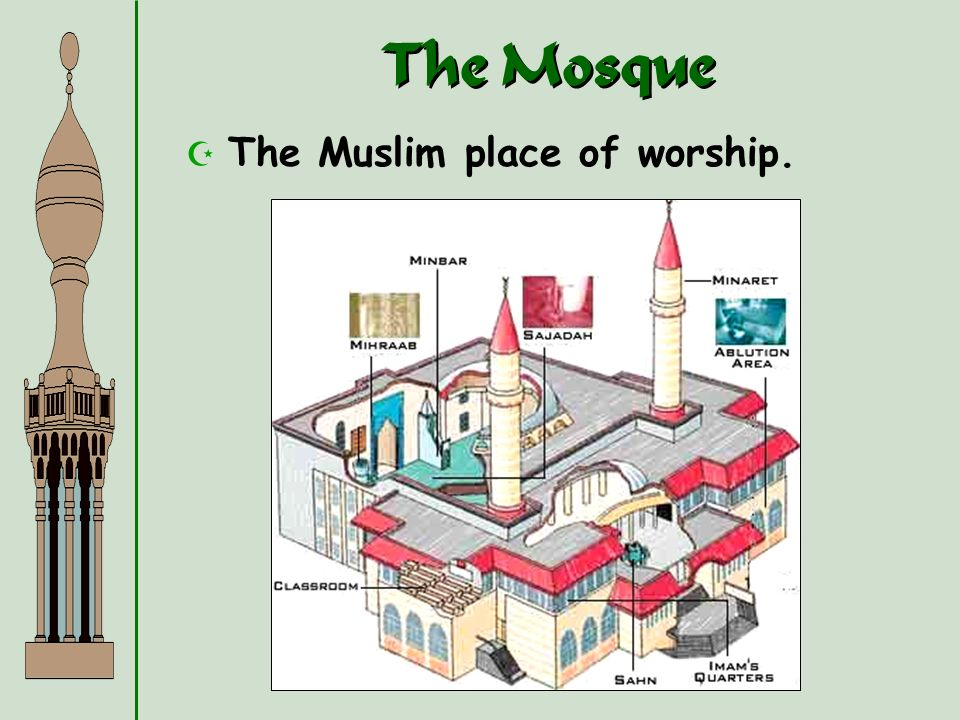 The Mosque The Muslim place of worship.
