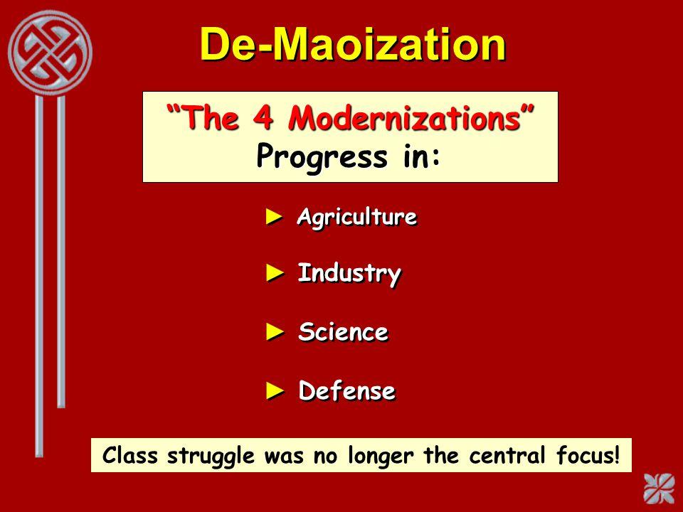 De-Maoization The 4 Modernizations Progress in: Industry Science