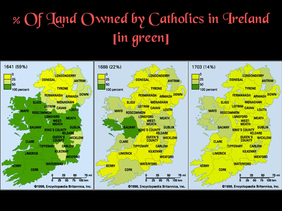 % Of Land Owned by Catholics in Ireland [in green]