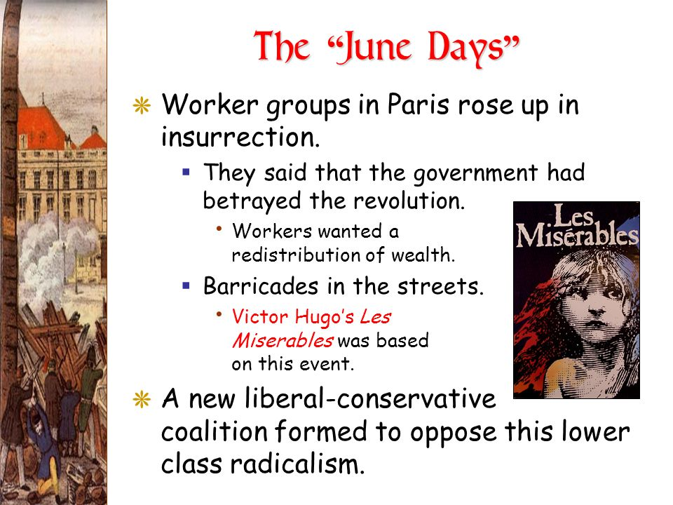 The June Days Worker groups in Paris rose up in insurrection.