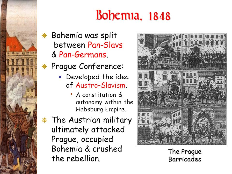 Bohemia, 1848 Bohemia was split between Pan-Slavs & Pan-Germans.