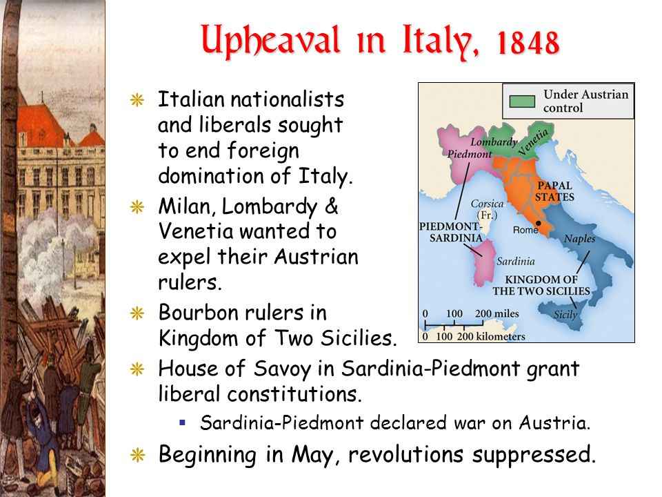Upheaval in Italy, 1848 Beginning in May, revolutions suppressed.