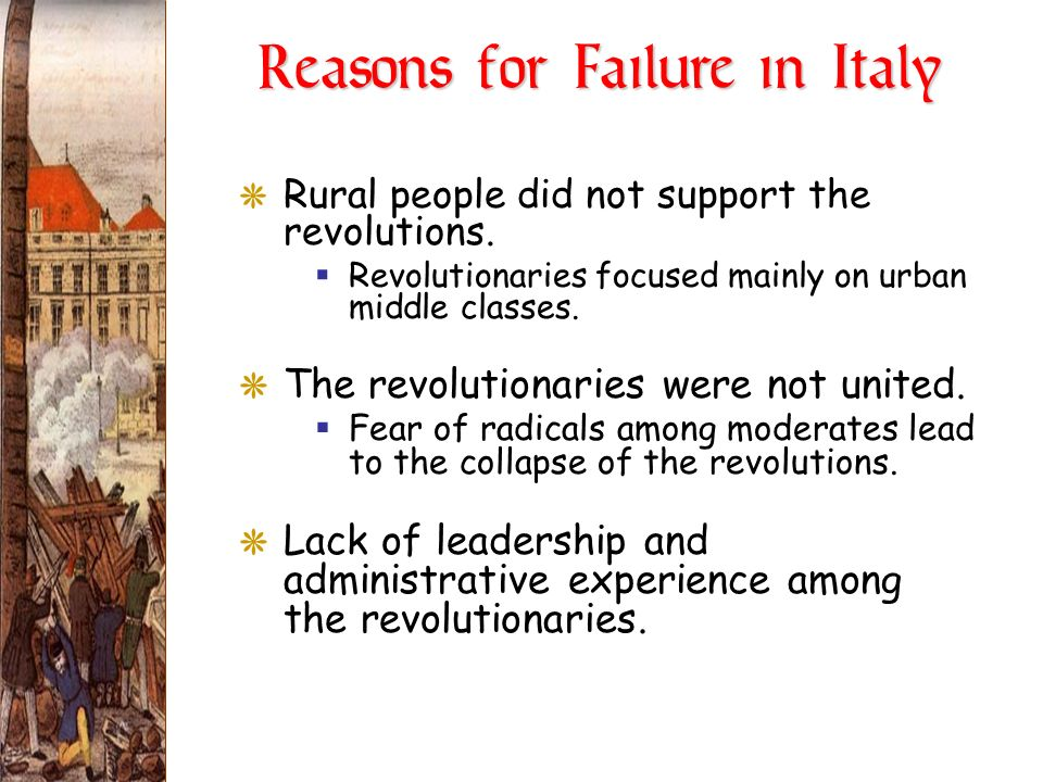 Reasons for Failure in Italy