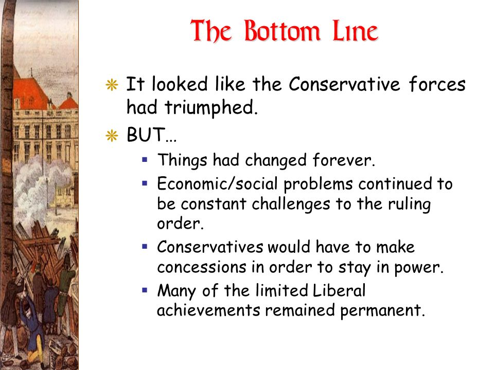 The Bottom Line It looked like the Conservative forces had triumphed.