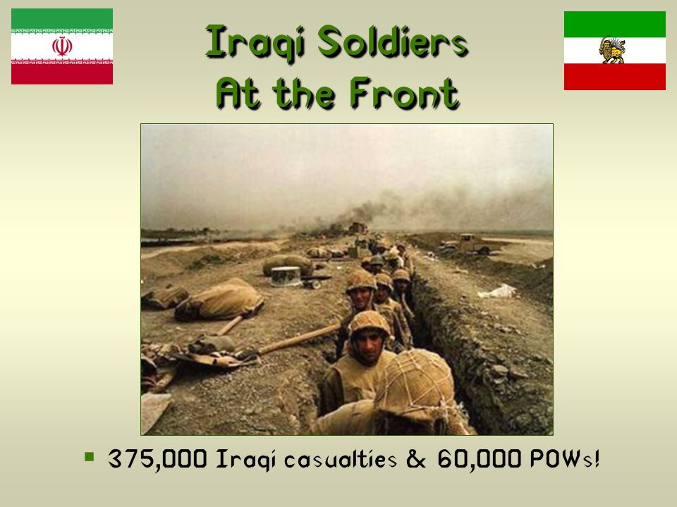 Iraqi Soldiers At the Front 375,000 Iraqi casualties & 60,000 POWs!