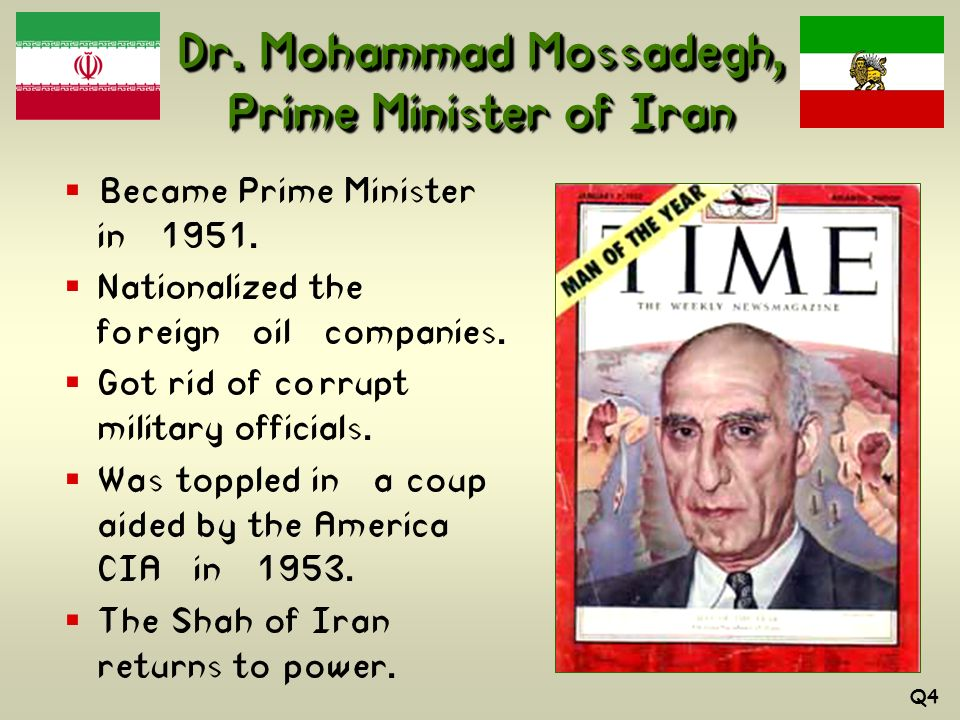 Dr. Mohammad Mossadegh, Prime Minister of Iran